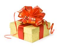 Gold gift box. With red ribbons Stock Image