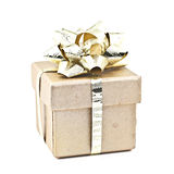 Gold gift box. Stock Photo