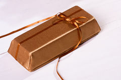 Gold gift box Stock Image