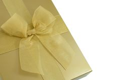 Gold gift box royalty free stock image