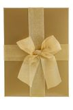 Gold gift box. With bow isolated on white Stock Photos