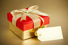 Gold Gift Box and Blank Card Stock Photo