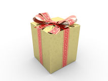 Gold gift box fancy bow Royalty Free Stock Photography