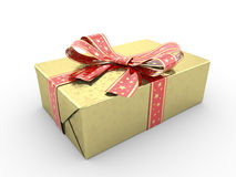 Gold gift box fancy bow Stock Photos