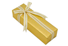 Gold gift box with gold ribbon Stock Images