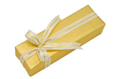 Gold gift box with gold ribbon Royalty Free Stock Image