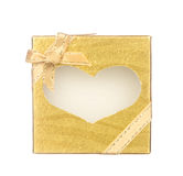 Gold gift box with heart shape isolated on white Royalty Free Stock Photo