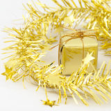 Gold Gift Box New Year and Christmas Decoration Stock Photos