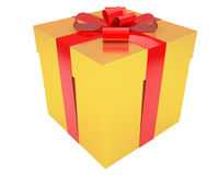 Gold gift box with red ribbon isolated Royalty Free Stock Images