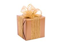 Gold gift box with ribbon and bow Stock Photography
