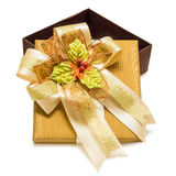 Gold gift box with ribbon Royalty Free Stock Image