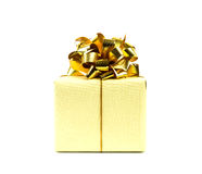Gold gift box with ribbon Royalty Free Stock Photo