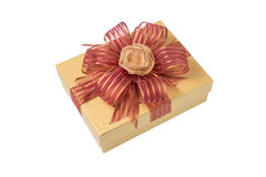 Gold Gift Box with Rose Ribbon and Red Ribbon isolated on white Stock Photography