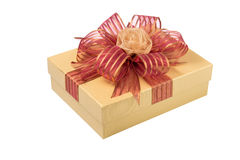Gold Gift Box with Rose Ribbon and Red Ribbon isolated on white Royalty Free Stock Photo