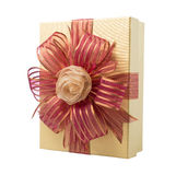 Gold Gift Box with Rose Ribbon and Red Ribbon isolated on white Stock Photo