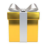 Gold gift box with silver ribbon bow Royalty Free Stock Photography