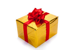 Gold gift box. On white background Royalty Free Stock Photo