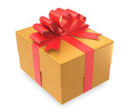 Gold gift box wrapped with red bow Royalty Free Stock Photos