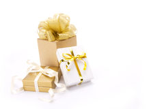 Gold gift boxes Royalty Free Stock Photo