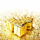 Gold gift boxes Stock Photo