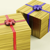 Gold Gift Boxes With Ribbon Royalty Free Stock Photo