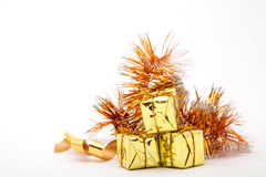 Gold gift boxes Stock Photography