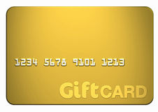 Gold Gift Card. Isolated on white front on (includes clipping path Stock Images