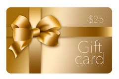 A gold gift card with a gold bow and ribbon is pictured here isolated on the background. This is an illustration stock illustration