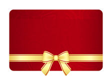Gold gift card with red ribbon and vintage floral Royalty Free Stock Image