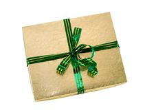 Gold Gift Green Ribbon Clipping Path Royalty Free Stock Photo