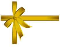 Gold gift, ribbon and bow Stock Photos