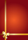 Gold gift ribbon and bow Stock Photos