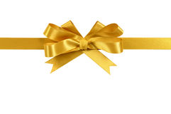 Gold gift ribbon bow straight horizontal isolated on white background. Gold gift ribbon and bow isolated on white Stock Image