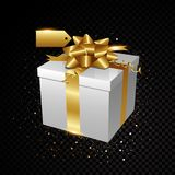 Gold gift with sparkles isolated on black background Stock Photos