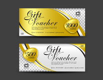 Gold Gift Voucher template, coupon design, Gift certificate. Ticket template, discount voucher layout royalty free illustration