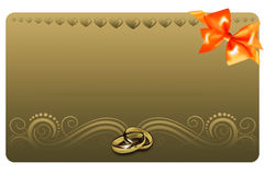Gold gift or wedding card. Stock Photo