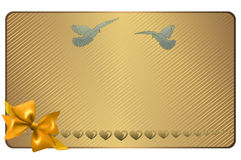 Gold gift or wedding card. Stock Images
