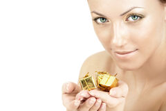 Gold gifts Royalty Free Stock Photography