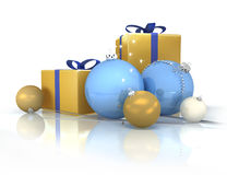 Gold gifts and balls Stock Photos