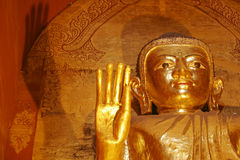 Gold gilded statues in Ananda temple, Bagan, Myanmar Stock Photo