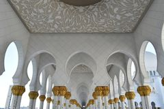 Gold gilted columns Sheikh Zayed Grand Mosque Royalty Free Stock Image