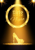 Gold girls night out party poster. Royalty Free Stock Photos