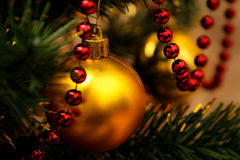 Gold glass bauble and red garland. Hanging on artificial Christmas tree Stock Photography
