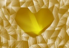 Gold glass heart Stock Photography