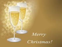 Gold glasses. Champagne glasses in gold tones for Christmas Stock Photography