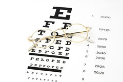 Gold Glasses with an eye chart snellen royalty free stock photo