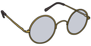 Gold glasses. Vector illustration of hand drawn classic gold glasses Stock Images