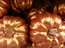 Gold glazed pumpkins stock images