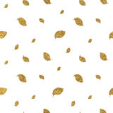 Gold glitter autumn leaves seamless pattern. Hand painted vector background, golden shiny leaf for wallpaper, fabric, paper, wrapping, web, textile Stock Images