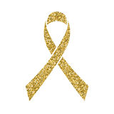 Gold glitter awareness ribbon. Simbol of Childhood Cancer Day. In February 15 isolated on white. Vector illustration Royalty Free Stock Photos